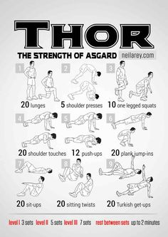 Workout motivation · mens fitness · superhero workout - thor fitspiration, bodybuilding, sport, workout routines, at home workouts Fitness Workouts, Hero Workouts, At Home Workouts, Fitness Motivation, Workout Bodyweight, No Weight Workouts, Body Weight Exercises, Neila Rey Workout, Hiit Workouts For Men