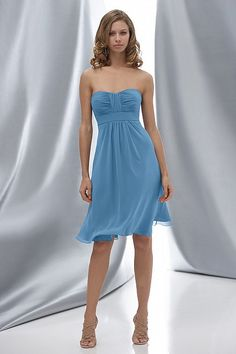 Deep sky blue bridesmaid dresses