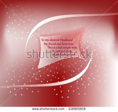 Greeting #card with floating small #paper, abstract design and #romantic #verses to the #husband, on a shiny red background