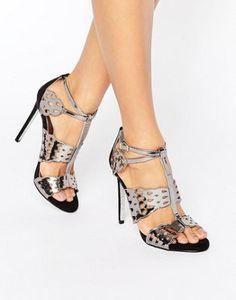9700c83c40d Carvela Give Gunmetal Metallic Heeled Sandals