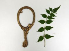 Art Nouveau Brass Hand Mirror Frame by AdryVintage on Etsy