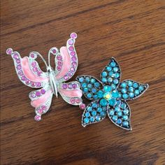 2 brooches 2 brooches one butterfly one flower both beautiful the flower has a more antique look to it  Jewelry Brooches