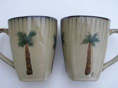 Palm Tree Cups Hand Painted Palm Tree Coffee by LisasPaintedCrafts