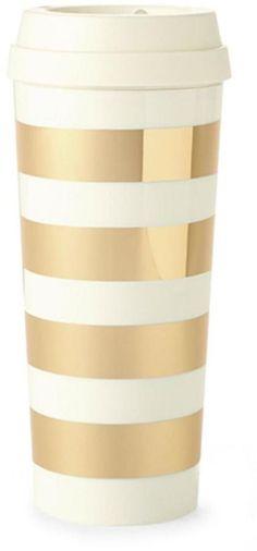 Kate Spade Gold Stripe Coffee Tumbler