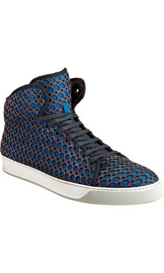 Lanvin Perforated Overlay High Top Sneaker