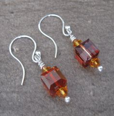 Fine Silver and Swarovski Crystal Earrings - 2-319 by PurpleRavenBoutique on Etsy