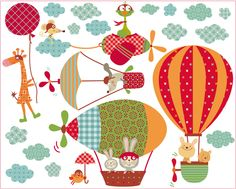 vinilos infantiles decohappy - - vinilo infantil los voladores felices Cute Poster, Kids Poster, Air Balloon, Balloons, Paper Feathers, Cute Little Things, Photo Booth Props, Coloring For Kids, Cross Stitching
