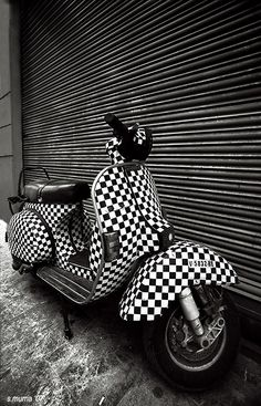 Black white squared Vespa