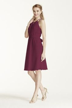 Fresh and flattering, this ultra-sweet dress is perfect for any bridal party! Sleeveless bodice features high neckline with keyhole detail and beaded straps. Tie elastic waist helps define and creates a flattering silhouette. Fully lined. Back zip. Imported. Dry clean only. Also available in extra length as Style 2XLF15421.