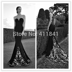 Cheap Evening Dresses, Buy Directly from China Suppliers:New Arrival Mermaid Embroidered BeadedApplique Long Train Sheer Neck Sweetheart 2015 Elegant Long White and Black