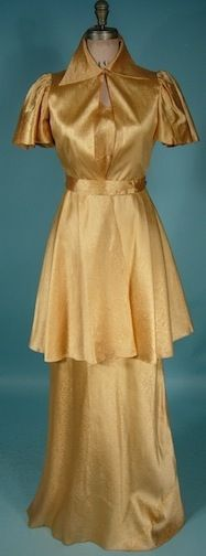 1930's Paper-Thin Textured Rayon Gown with Matching Long Jacket