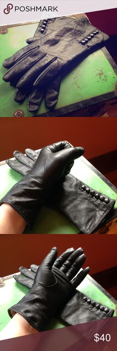 Black Leather Cashmere Lined Gloves Black leather gloves with tiny decorative buttons and soft warm cashmere lining. Size L. Accessories Gloves & Mittens