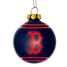 Boston Red Sox MLB Baseball 2014 Glitter Logo Glass Ball Ornament