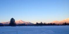 Sunset on the Adirondack Mountains in Lake Placid, New York.