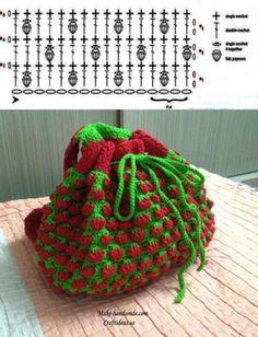 "Point de Crochet ""Strawberry"" - Tutorials - Crochet et plus.Crochet et plus… Filet Crochet, Bobble Crochet, Crochet Diy, Crochet Dishcloths, Crochet Diagram, Love Crochet, Crochet Motif, Crochet Designs, Crochet Crafts"
