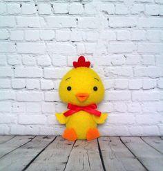 Chicken Farm Animals Stuffed Toy Felt Chick Yellow Bird by BelkaUA