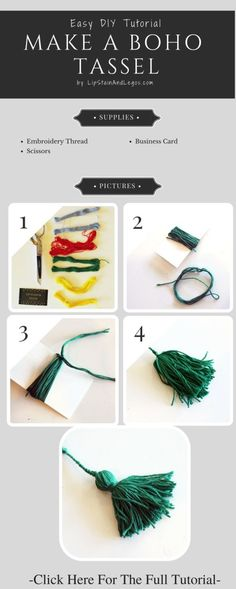 How To Make a Colorful Tassel for DIY crafts, jewelry, and other accessories. Click HERE for the full DIY