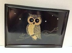 Vintage Mid Century Modern Couroc Monterey Art Inlay Owl Large Serving Tray