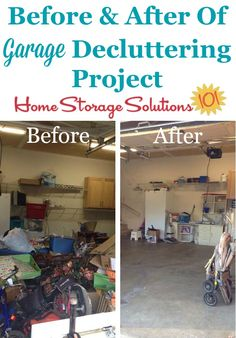 Before and after collage of Jessica's garage decluttering project {featured on #Declutter365 missions on Home Storage Solutions 101}