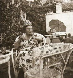Baroness Catherine D'Erlanger wearing her diamond tiara.....she always wore it while gardening.