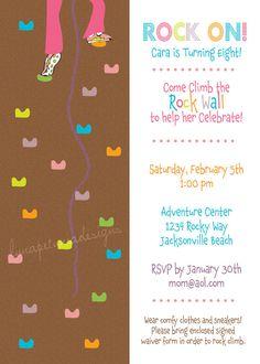 Rock Wall . Birthday Party Invitation . Any by LunaPetuniaDesigns