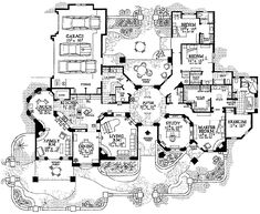 I could see this floorplan adapted to a Tuscan home design rather than a Santa Fe one. Dream House Plans, House Floor Plans, The Plan, How To Plan, Plan Plan, Gothic Mansion, Adobe House, House Blueprints, Sims House