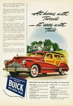 Buick offered an upscale station wagon, hence the Estate Wagon name. Buick continued to offer a wagon with real wood until That was the last U. Station Wagon, Vintage Advertisements, Vintage Ads, Poster Vintage, Buick Cars, Buick Wagon, Woody Wagon, Car Illustration, Car Posters