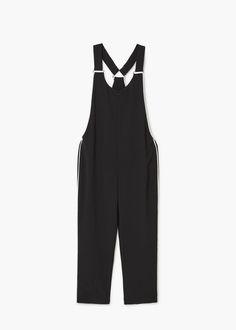 Contrast trims jumpsuit - Jumpsuits for Woman Long Overalls, Burgundy Pants, Womens Workout Outfits, Manga, Designer Wear, Jumpsuits For Women, Cute Dresses, Fit Women, Style