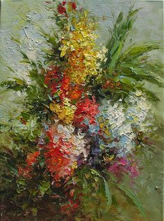 ORIGINAL Oil Painting Spring Fantasy 18 x 24 Flowers by decorpro
