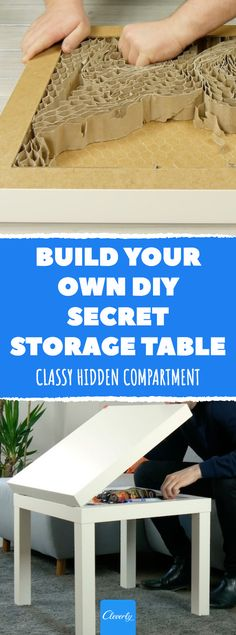 Hidden Compartment Table: If You Don't Already Have One, You Have Only Yourself To Blame! Diy Kitchen Storage, Table Storage, Diy Storage, Storage Spaces, Kitchen Tools, Ikea Table, Diy Table, Decorating Tips, Decorating Your Home