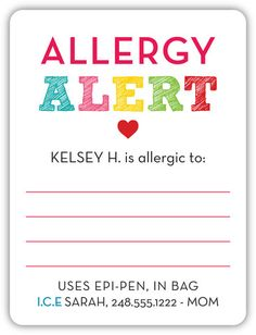 Peanut Allergy, food allergy labels, keeping kids safe.  Personalized with emergency contact info and more.