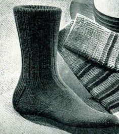 NEW! Ribbed Socks knit pattern from New Sock Fashions in Wool, Volume 69, from 1949.