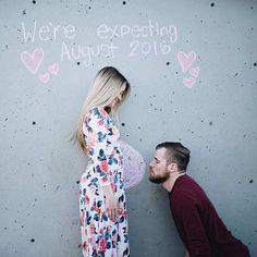 Super Cute Pregnancy Announcement on a Wall