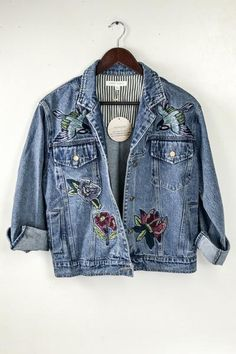 This jean jacket is on trend with beautiful embroidery and sure to be your new favorite to layer and thrown on with any transitional pieces this spring.