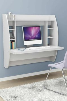 White Floating Desk With Storage. This Office Desk Furniture Is A Space Saving Solution For Any Home. Each Home Office Desk Is Easy To Mount And Features Ample Storage Space. Add This Modern Home Office Furniture To Your Workspace Today. Bedroom Desk, Diy Home Decor Bedroom, Bedroom Furniture, Furniture Design, Furniture Ideas, Cheap Furniture, Furniture Stores, Discount Furniture, Furniture For Small Spaces