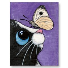 Baby and the Large White - Cat Postcard by LisaMarieArt