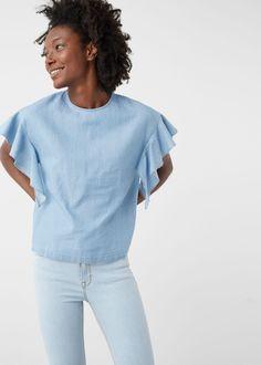 Jeansbluse mit rüschen - Blusen für Damen | MANGO Deutschland