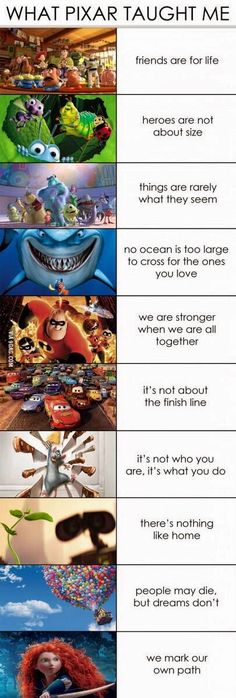 Funny pictures about What Pixar Taught Me. Oh, and cool pics about What Pixar Taught Me. Also, What Pixar Taught Me photos. Humour Disney, Funny Disney Memes, Disney Facts, Funny Memes, Funny Videos, Pixar Facts, Sad Disney Quotes, Pixar Quotes, Disney Sayings