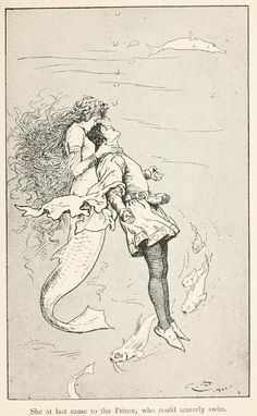 Mermaids Vince Vance, Fairy tales from Hans Andersen, Illustration by Gordon Browne, The Sea Maiden Art And Illustration, Gravure Illustration, Mermaid Illustration, Food Illustrations, Vintage Mermaid, Mermaid Art, Mermaid Style, Art Inspo, Drawn Art