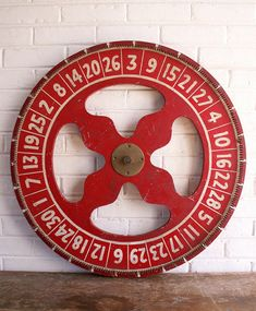 Extra Large Vintage Gaming Wheel - Double Sided Red and White Carnival Wheel