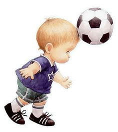 little boy playing football. Clipart Baby, Cute Clipart, Cute Images, Cute Pictures, Illustration Noel, Baby Drawing, Boy Quilts, Boys Playing, Baby Art
