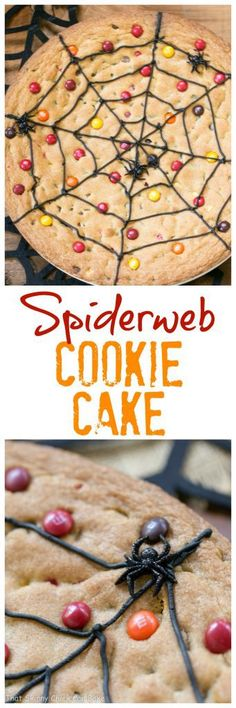 Spiderweb Cookie Cake | A fun, tasty easy Halloween dessert that will please the whole family!!! #halloween