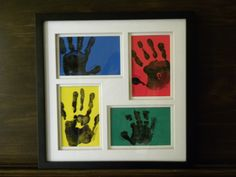 Fathers Day Project, 4 kids, craft foam, black paint, picture frame