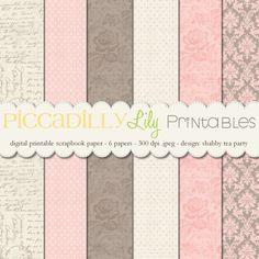 Shabby Tea Party -- 12x12 Digital Printable Scrapbook Paper Pack Cream Pink Taupe-- Buy 3 Digital Paper Packs Get 1 FREE