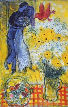 "'Lovers with Daisies' Marc Chagall, 1959 Oil on canvas, 19"" x 29"""