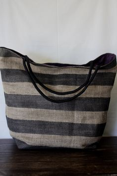 Take me to the Beach Large Burlap Beach Bag Black hand painted stripes on Etsy, $40.00