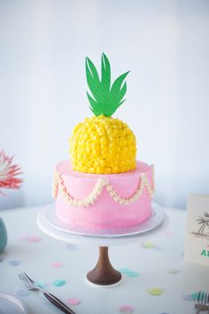 pink pineapple topped wedding cake by Coco Cake Land