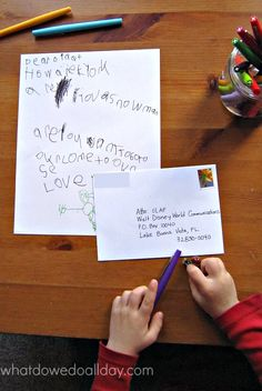 Write a letter to a Disney character and get a  return postcard! Great idea for reluctant writers.