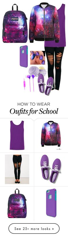 """""""School girl #2"""" by cray-cray-cupcake on Polyvore featuring Machine, Helmut Lang, Eos, Sony, iLuv, Keds and JanSport"""