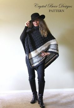 This Crochet PATTERN Chunky Turtleneck Poncho / Ebony and Ivory is just one of the custom, handmade pieces you'll find in our patterns & blueprints shops.Ebony & Ivory Poncho Pattern No. 058 Make a fashion statement with this warm chunky poncho that can b Crochet Bolero, Crochet Poncho Patterns, Crochet Scarves, Crochet Clothes, Crochet Stitches, Chunky Crochet, Knit Crochet, Ravelry Crochet, Caron Cakes Patterns